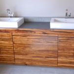 sinks + tiger-wood cabinet