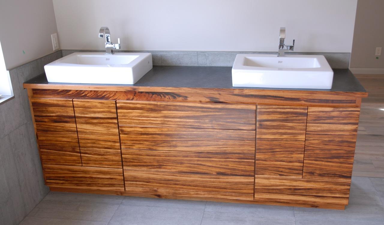Sinks + Tiger Wood Cabinet