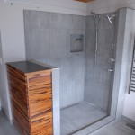shower + tiger-wood cabinet